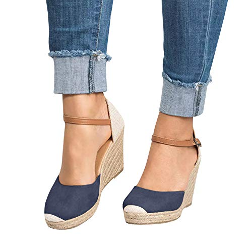 (FISACE Womens Summer Espadrille Heel Platform Wedge Sandals Ankle Buckle Strap Closed Toe Shoes Navy)