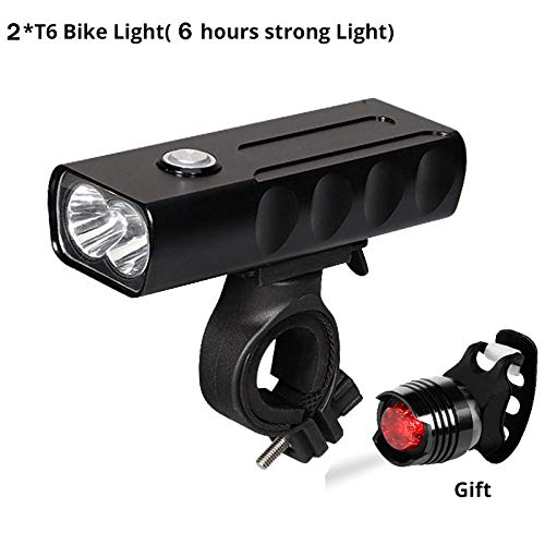 Enchante Jerry Bicycle Light - 15000Lum 2/3L2/T6 USB Rechargeable Built-in 5200mAh 3Modes Bicycle Light Waterproof Headlight Bike Accessories with Taillight 1 PCs ()