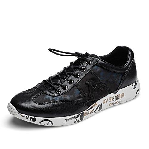 Aide Baou Hommes Bas-top Athleisure Chaussures Casual Bicolore Peau De Mouton Élastique Lacets Et Slip-on Sneaker Noir / Marine