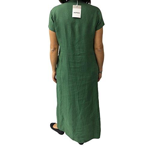 verde abito ASPESI 100 vestibilità comoda H613 lino donna lungo modello xt1Z1