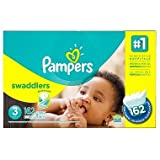 Pampers Swaddlers Diapers Size 3 Economy, Pack 162 Count, Our unique Absorb Away - New!!!