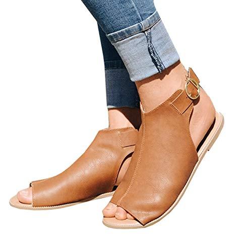 - FISACE Womens Summer Slip On Mule Slingback Peep Toe Flat Sandal Adjustable Ankle Buckle Shoes