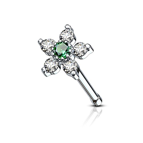 Fifth Cue 20G 6 CZ Flower Top Nose Bone Stud Ring 316L Surgical Steel (Clear/Emerald)