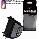MyBand Elite 360 Rotatable Sports and Fitness Universal Running Armband Reflective with Hidden Security Pocket Card Holder Wallet for Men, Women, Runners, Jogging, Gym, Yoga, Workout, Marathon - Black