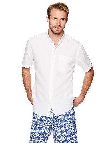 Isle Bay Linens Men's Standard Fit Short Sleeve Linen Cotton Button-Down Shirt