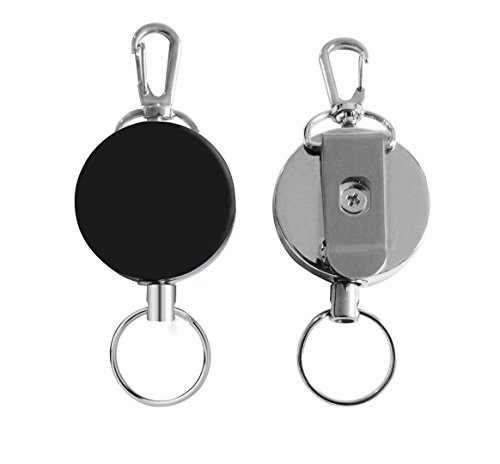 Popu-bar Badge Reel, Retractable Badge Holder Half Metal Key Reels Heavy Duty Retracting Badge Clips for ID Key (2 Packs Black and Silvery) (Retracting Reel)