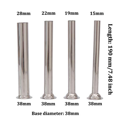 (LiebHome 4pcs Stainless Steel Sausage Stuffer Filling Tubes Funnels Nozzles Spare parts Filler Tube, Base diameter:38mm)