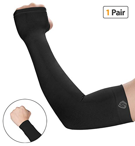 SHINYMOD UV Protection Cooling Arm Sleeves for Men Women Sunblock Cooler Protective Sports Running Golf Cycling Basketball Driving Fishing Long Arm Cover Sleeves (1 Pair Black) by SHINYMOD (Image #8)