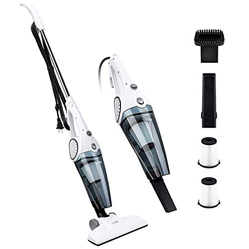 Holife Stick Vacuum Cleaner 2-in-1 Upright and Handheld Vacuum Corded Stick, Bagless Lightweight with 12Kpa Strong Suction Includes HEPA Filters (White)