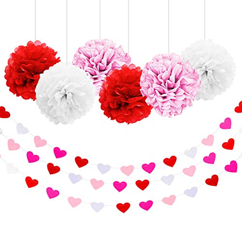 3 Pieces Valentines Day Heart Garland Banner Hanging Decoration Paper Heart Shape Bunting Banner and 6 Pieces Pink White Red Paper Pom Poms for Valentine Wedding Party Supply