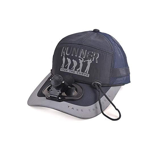 Unisex Electric Fan Sunhats Cooling USB Charge Fishing Sunshade Caps with Letters Ins Hot Novel Summer Hats Blue