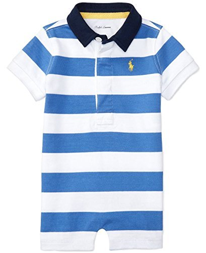 Ralph Lauren Baby Boys Striped Cotton Jersey Shortall (12 Months, Regal Blue/White)