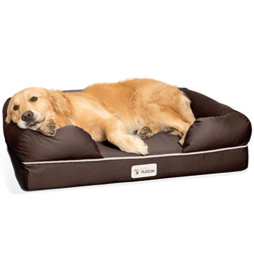 "PetFusion Large Dog Bed w/Solid 4"" Memory Foam, Waterproof Liner, YKK Premium Zippers. [Brown, 36x28x9 - Sized for Medium & Large Dogs]. Breathable Cotton Blend Cover, Removable & Easy to Clean"
