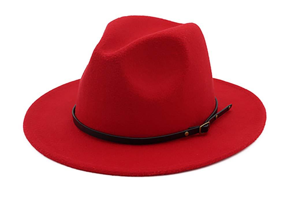 BogiWell Women Woolen Wide Brim Fedora Hat Classic Jazz Cap with Buckle Belt Red