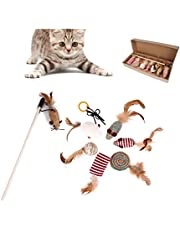 SKEIDO Cat Toys Dog Chewing Toy Funny Cat Mouse Feather Stick 7 pcs Cat Toy Set
