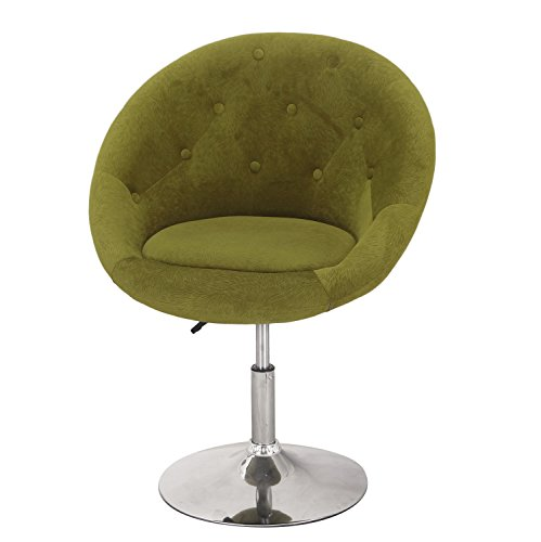 Asense Round-Back Swivel Chair, Cushioned Leatherette Adjustable Barstool Chair with Lift Chair Green Cushioned Swivel Stool
