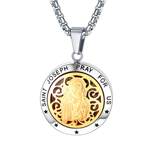 FaithHeart Saint Joseph Pendant Necklace, Stainless Steel Two Tone Photo Locket Pendants Religious Jewelry