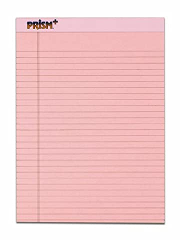 TOPS Prism Plus 100% Recycled Legal Pad, 8-1/2 x 11-3/4 Inches, Perforated, Pink, Legal/Wide Rule, 50 Sheets per Pad, 12 Pads per Pack - Recycled Paper Pads