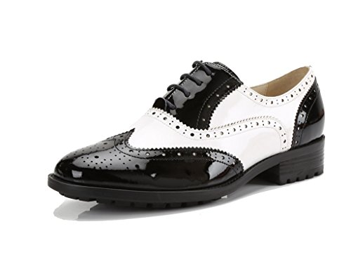 - U-lite Women's Black White Perforated Lace-up Wingtip Leather Flat Oxfords Vintage Oxford Shoes bw 6