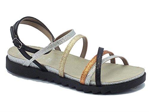 Sandalo CafèNoir per donna in glitter multicolore e pelle nera (Taglia 38)