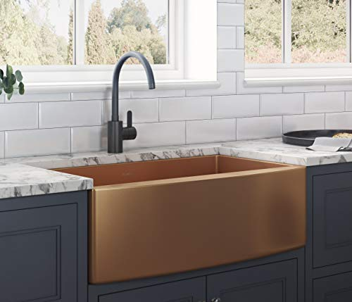 Farmhouse Kitchen Ruvati Copper Tone 33-inch Apron-Front Farmhouse Kitchen Sink – Matte Bronze Stainless Steel Single Bowl – RVH9733CP farmhouse kitchen sinks