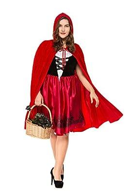 BTChoice Women's Plus Size Little Red Riding Hood Costume Halloween Dress Up