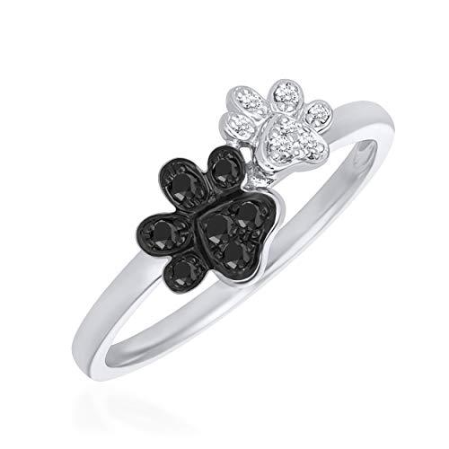 Rare Earth Diamond Jewellery Round Cut Black & White Cubic Zirconia Dog Paw Prints Ring in 925 Sterling Silver from Rare Earth Diamond Jewellery