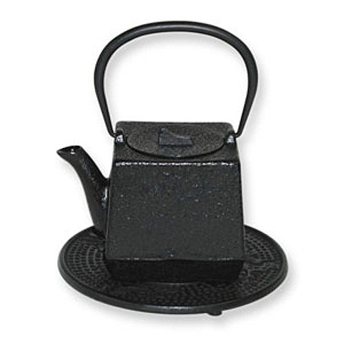 Japanese Tetsubin Cast Iron Black Square - Cast Square Infuser Iron