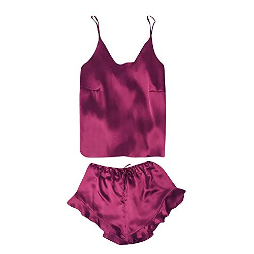 KLFGJ Women Sleeveless Sleepwears,Lace Trim Satin Camisole and Shorts Pajama Sets Thin Lingeries(Wine Red,L)