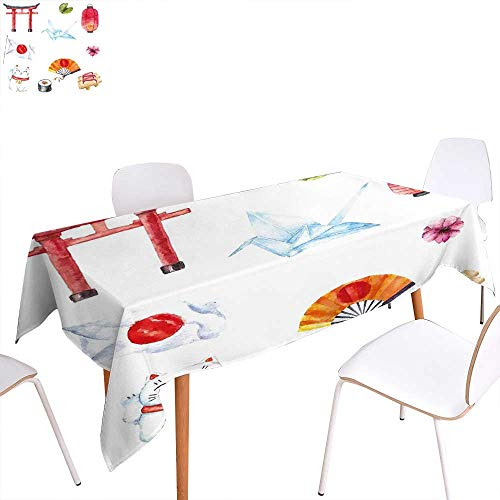 familytaste Japanese Washable Tablecloth Hand Drawn Traditional Elements Watercolors Torii Gate Origami Bird Flag Lacky Cat Waterproof Tablecloths 60