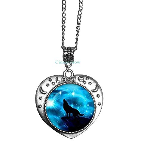 Cioaqpyirow Handmade Howling Wolf Necklace,Full Moon Pendant,Wolf and Moon Necklace,Men and Women Accessories,HO0E400]()
