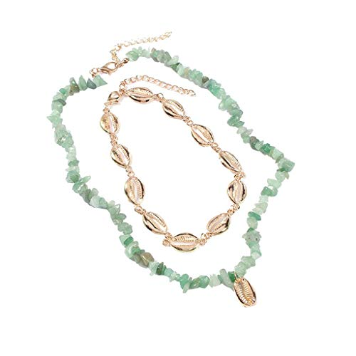 - Handmade Necklace Women Pearl Shell Pearl Leather Rope Necklace Style Bohemian Style Jewelry Pendant(green)