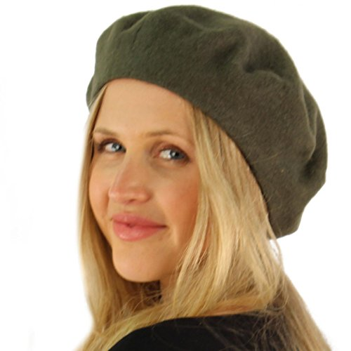 Classic Winter 100% Wool Warm French Art Basque Beret Tam Beanie Hat Cap Olive