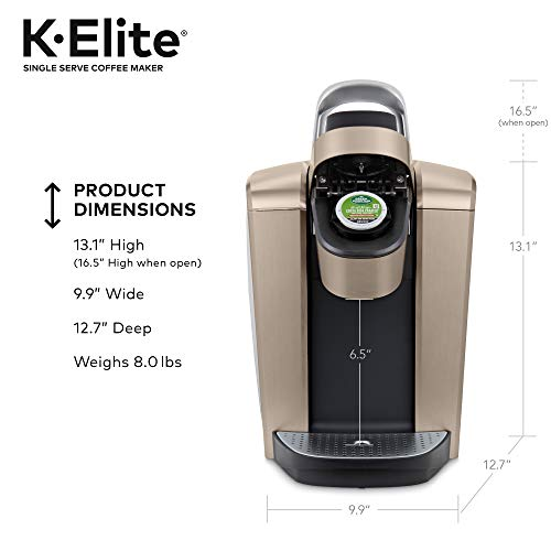 Keurig K-Elite Coffee Maker, Single Serve K-Cup Pod Coffee Brewer, With Iced Coffee Capability, Brushed Gold Salted Salad