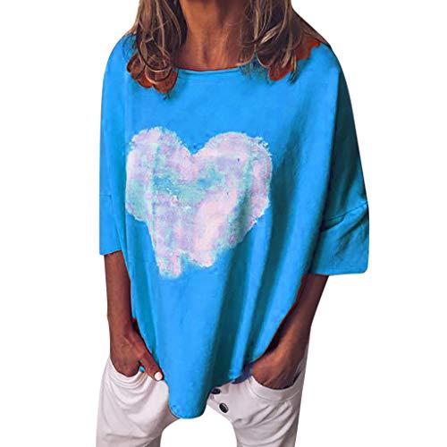 Tomppy Women 3/4 Sleeve T-Shirt Ladies Casual Summer Heart Printed Tees Loose Blouse Tops ()