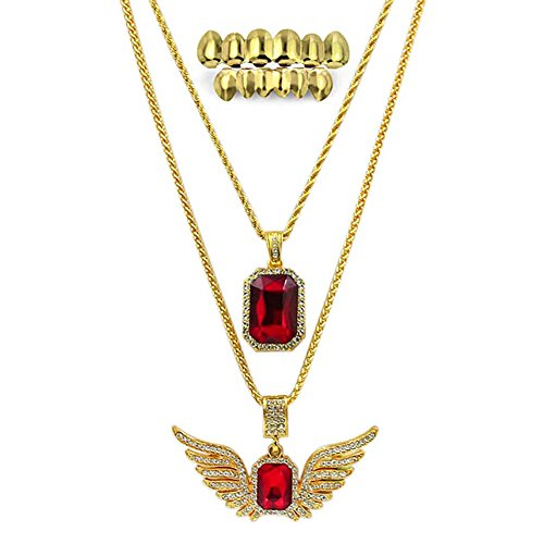 JINAO 18K Gold plated Hip Hop Fashion Red Ruby&Wings Pendant Necklace with Gold Teeth Grillz (Gangster Necklaces)