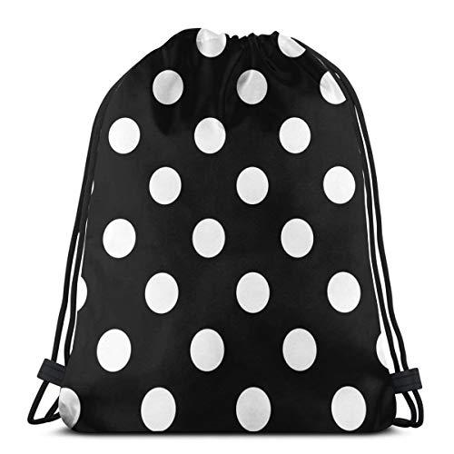 (KIENGG Drawstring Backpack Black White Bohemian Polka Dot Canvas Bulk Sackpack for Men Women String Sports Gym Bag)