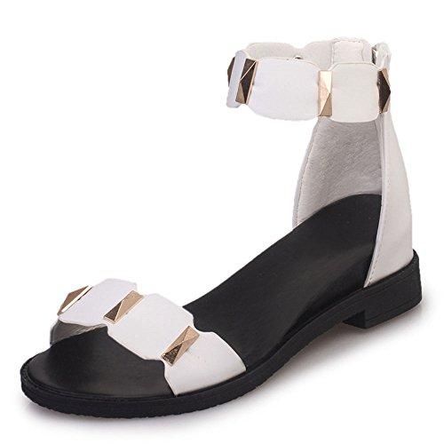 FANIMILA Moda Mujer Basic En aumento Zapatos Tacon de Cuna Sandalias Blanco