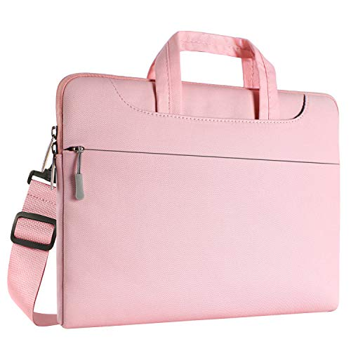 (MOSISO Laptop Shoulder Bag Compatible 13-13.3 Inch MacBook Pro, MacBook Air, Notebook Computer, Denim Fabric Ultraportable Protective Carrying Handbag Briefcase Sleeve Case Cover, Pink )