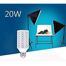 Bonlux Photography Studio Umbrella Lighting, 20W 5500K LED Daylight Balanced Bulb, E26/E27 Medium Screw Base Professional Camera Background Light - Fit for Video Photography Studio Background Lighting (20 Watt)