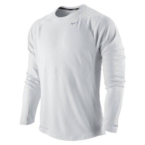 Homme Maillot Nike Pour Uv Miler argent Course Manches Longues Blanc De UUE8xrwq