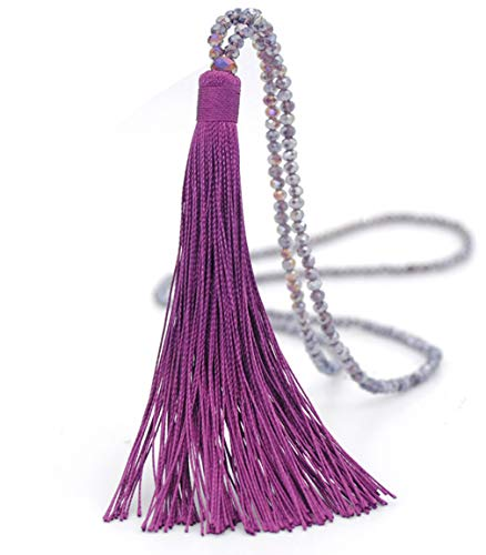 Long Tassel Necklace Handmade Turquoise Pearl Crystal Beads Necklace for Women Fashion Jewelry
