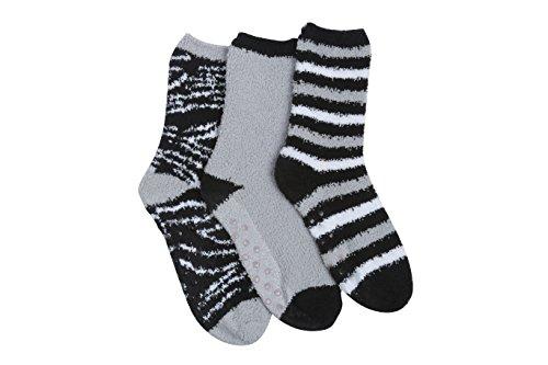 Tipi Toe Womens 3-Pairs Cozy Microfiber Anti-Skid Soft Fuzzy Crew Socks
