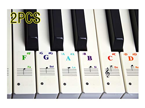 Drinkcomfort Piano Stickers for Keys - For 37/49/61/88 Key Keyboards -Transparent and Removable with Free Sheet of Replacement Stickers(2PCS) ()