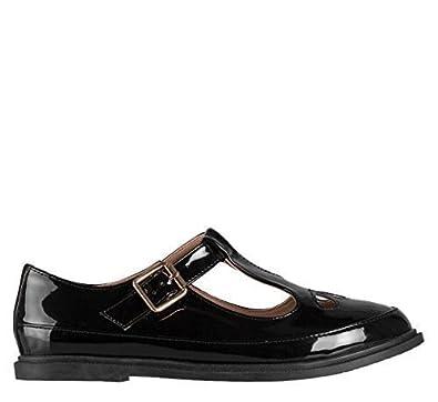Hidden Fashion , Femme chaussure Geek plate barre en T salomé en simili  cuir verni noir