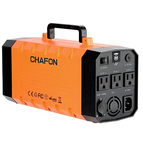 288WH Portable Generator UPS Battery Backup,Rechargeable Power Source Inverter with 110V/500W AC,12V Car,USB Ports,Car Jump Starter for Camping -Orange