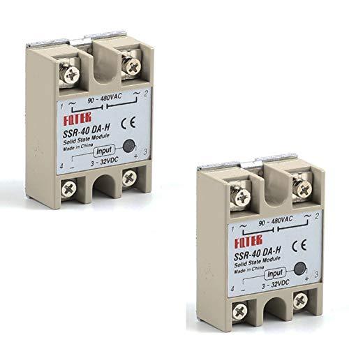 TinaWood 2PCS SSR-40DA 40A Solid State Relay Load 24-380V AC Input 3-32V DC (SSR-40DA x2)