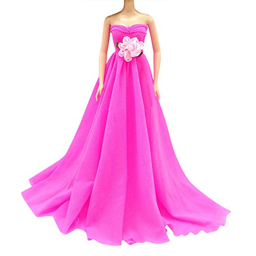 GSPet Mini Handmade Wedding Dress Party Gown Clothes Outfits Fit for Barbie Doll Gift - Rose -