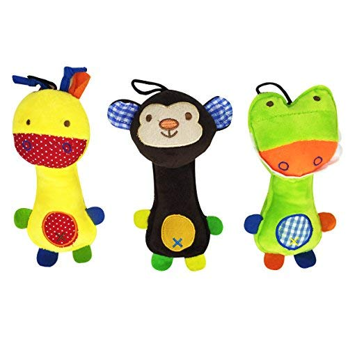 ([Pack of 3] Pet Squeaky Sound Chew Toys Package with Giraffe, Crocodile and)
