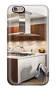 High Impact Dirt/shock Proof Case Cover For Iphone 6 (contemporary Kitchen With Marble Backsplash And Built-in Gas Range)